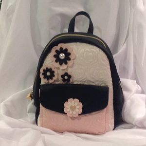 Betsey Johnson Quilted Tonal Floral Backpack